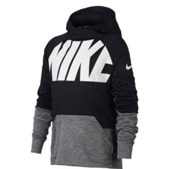 NWT Big Boys Nike Therma Training Pullover Hoodie Red White Size Medium Black
